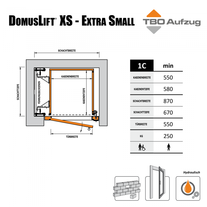 TBO Aufzug-DomusLift XS-Zeichnung gemauerter Schacht